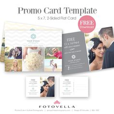 """Photography marketing template. """"Grigio"""" studio promo card/post card Photoshop Template by FOTOVELLA"""