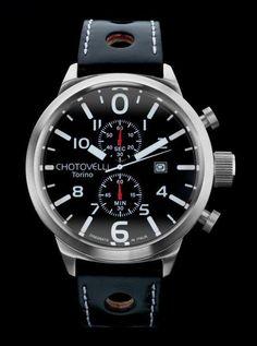 Chotovelli Big Pilot 7900 Aviation Watch Silver/Black TS7900-2