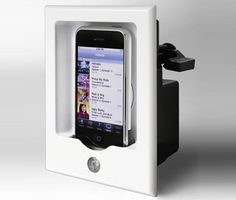 IPOD Wall DOCK with built in speaker... WAY COOL  Google Image Result for http://cache.gizmodo.com/assets/images/4/2007/09/iPort.jpg