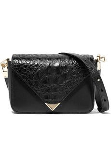 Alexander Wang Snake-effect and smooth leather mini shoulder bag   THE OUTNET
