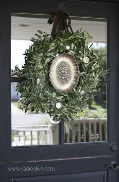 wreath with silver platter inside and pretty silver ornaments