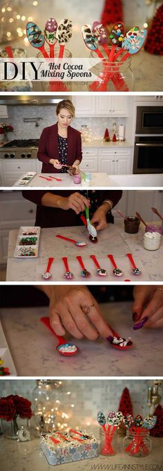 DIY Hot Chocolate Stir Spoons | Gift Ideas or party favorites! | LifeAnnStyle.com Christmas Goodies, Christmas Candy, Diy Christmas Gifts, Christmas Treats, Christmas Projects, Holiday Fun, Christmas Holidays, Xmas, Hot Chocolate Gifts
