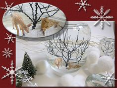 Large Snow Globe Idea, epoxy clay, craft wire tree, figurines, distilled water, a few drops of glycerin and a teaspoon of fake snow!