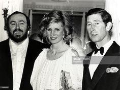 British Royalty, 21st May 1984, The Prince and Princess of Wales with Italian tenor Luciano Pavarotti at London's Royal Opera House after a charity concert