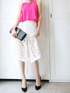 Shop Rose Red Peplum Blouse With White Lace Skirt from choies.com .Free shipping Worldwide.