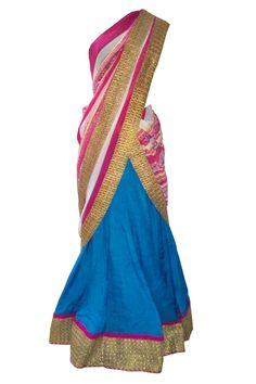 Blue ghagra with printed pink dupatta by Indian fashion designer label Shefali's Studio - Shop it on Scarlet Bindi