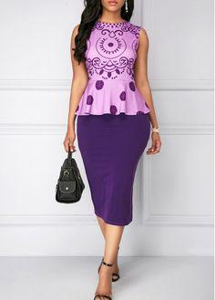 Printed Purple Top and Back Slit Skirt