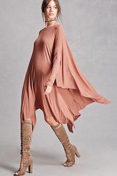 Ribbed Knit Trapeze Dress