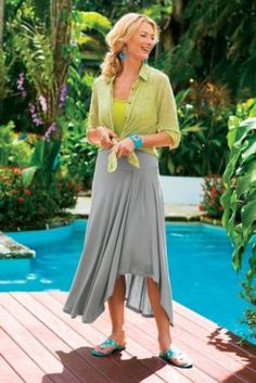 St. Tropez Skirt I - Sarong Skirt, Tropical Skirt | Soft Surroundings nice skirt detail- yoke inset pleat piece shorter hem in front