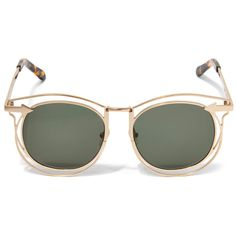 Karen Walker Simone Round Sunglasses (5,510 MXN) ❤ liked on Polyvore featuring accessories, eyewear, sunglasses, round frame sunglasses, lens glasses, karen walker, nose pad glasses and round metal frame sunglasses