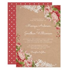 Rustic Romantic Floral Lace Kraft Polka Wedding Card - invitations custom unique diy personalize occasions