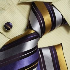 Purple stripes men neck ties gold stripes