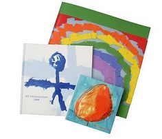 Scan and create a harbound book of your children's art.  Petite Picasso.