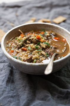 Instant Pot (Pressure Cooker) Beef Barley Soup - A simple, healthy, and flavorful soup that tastes like you slow-simmered it all day long! Perfect for fall! #beef #beefbarleysoup #beefvegetablesoup #instantpot   http://Littlespicejar.com