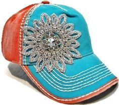Turquoise and Red Bling baseball cap