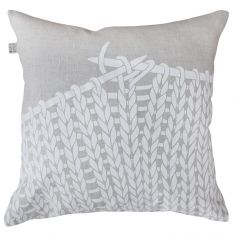 Knitting cushion cover in white on natural