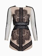 Nude and Black Long Sleeve Pencil Dress Contrast Lace Panel Leather Highlight