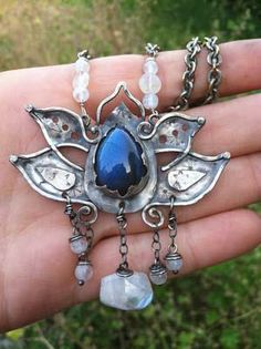 sterling labradorite moonstone lotus necklace by summerravencreations