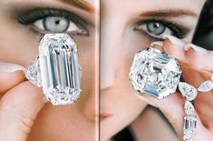 The La Favorite diamond, with the Star of America (right), 50 and 100 carats, respectively.