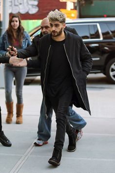Zayn Malik wearing Members Only Sherpa Lined Long Bomber Jacket, Urban Outfitters Hawkings McGill Key Cleat Boot