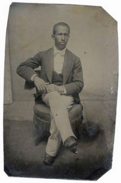 BLACK-MAN-WHITE-TIE-LEGS-CROSSED-TINTYPE-AFRICAN-AMERICAN