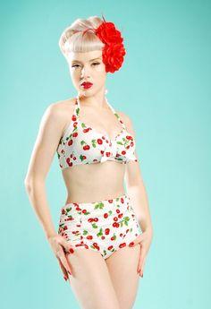 White Red Cherries Cherry Retro Pin Up Halterneck String Bikini Set Swimwear