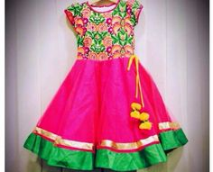 Pink and green combination frock
