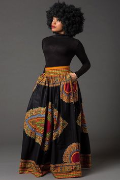 Black Dashiki African maxi skirt African print skirt for women Ankara maxi skirt African skirt long skirt African print skirt MARCIA African Print Skirt, African Print Dresses, African Fashion Dresses, African Fabric, African Prints, Long African Skirt, African Outfits, African Dresses For Women, African Inspired Fashion