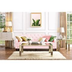 You'd never guess this ultra chic Dorel Home Novogratz Vintage Tufted Sofa Sleeper II becomes a comfy bed for overnight guests. This sofa sleeper. My Living Room, Living Room Furniture, Living Spaces, Lounge Furniture, Furniture Design, Vintage Sofa, Vintage Furniture, Rosa Couch, Pink Couch