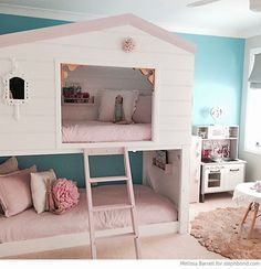 Bondville: Amazing loft bunk bed room for three girls