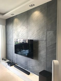 Stone wall feature Tv Feature Wall, Feature Wall Living Room, Feature Wall Design, Wall Panel Design, Tv Wall Design, House Design, Tv Wall Panel, Wall Tv, Wood Wall