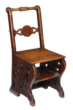 A Victorian oak metamorphic chair, circa the hinged seat allowing the frame to revolve and become a set of library steps, rectangular . Ladder Chair, Ladder Decor, Library Chair, Library Ladder, Transformers, Convertible Furniture, Love Chair, Victorian Homes, Soft Furnishings