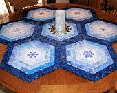 Blue Snowflake Table Topper Quilt for Christmas - Machine Embroidered