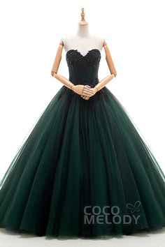 Unique A-Line Sweetheart Natural Chapel Train Tulle Emerald Green Sleeveless Lace Up-Corset Wedding Dress Appliques Beading JWLT16002