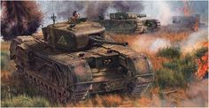 Churchill Mk.IV tanque britanico de infantería, al fondo un Churchill Mk.IV A.V.R.E. Steve Noon. http://www.elgrancapitan.org/foro/viewtopic.php?f=12&t=17519&p=908130#p908130