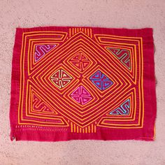Fabulous, Traditional Design, Ancestral Kuna Indian Geometric Mola - Handmade Indigenous Textile Art