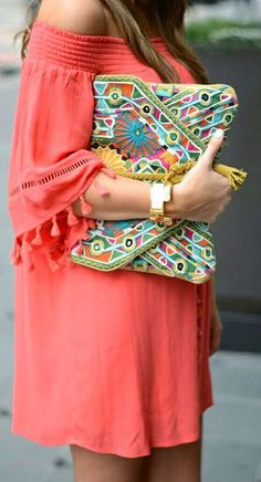 Off the Shoulder Coral Dress with Colorful Clutch