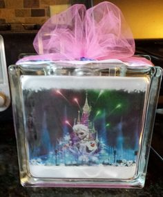 Frozen Olaf and elsa glass block