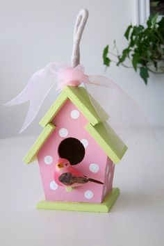Had fun with some paint and a little  plain birdhouse from Michaels!