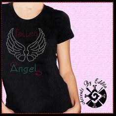Fallen Angel DIY Rhinestone Transfer Naughty by AccentsByEddita, $13.99