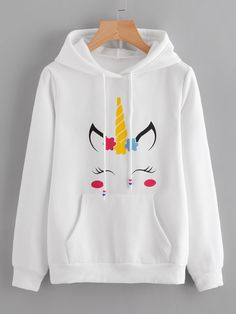 Womens Unicorn Print Long Sleeve Hoodie Sweatshirt Jumper Hooded Pullover Tops Features: is made of high quality materials,durable enought for your Girls Fashion Clothes, Teen Fashion Outfits, Girl Outfits, Cute Outfits, Fashion Fall, Unicorn Hoodie, Unicorn Outfit, Unicorn Clothes, Unicorn Fashion
