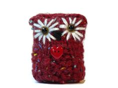 Red Knitted Owl Decor Amigurumi Owls Teachers by TheWoollyOwlhouse