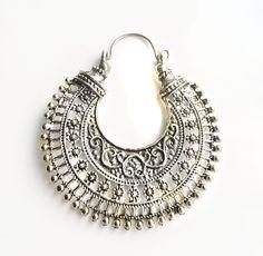 Silver Hoop Earring- Bohemian jewelry- Crescent Earring-Hippie- Filigree Earring- Gypsy Jewelry - Hoop Earrings Tribal Kuchi Jewelry by taneesijewelry on Etsy