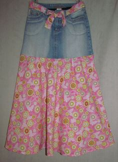 DIY, refashion jeans to a skirt.  I love the matching belt.  Girls  Maxi Skirt  Size 12 by EastCoastSkirts on Etsy, $16.50