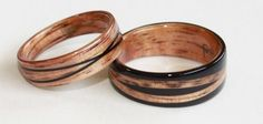 Crossed spiral designs with Golden Hawaiian Koa and African Blackwood Touch Wood rings