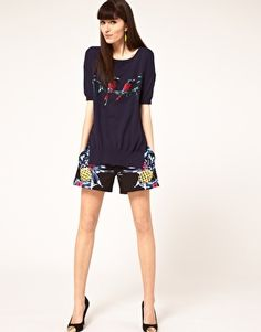 Markus Lupfer Tropical Vine Sequin Jumper