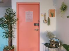 vintage / pink / door / entrance /small / plants / home / decor / interior / wall hangings / ideas / styling / comfy