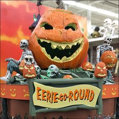 Among the most compelling of demo merchandise was this Eerie-Go-Round Halloween Merry-Go-Round in Motion. Every town should have a Merry-Go-Round and. Merry Go Round, Carousel, Pumpkin Carving, Retail, Halloween, Games, Art, Plays, Kunst