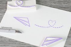 paper plane stamp airmail stamp love letter stamp by byhoneysuckle, $14.00