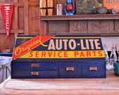 Vintage Auto-Lite Parts Bin, Metal Parts Cabinet